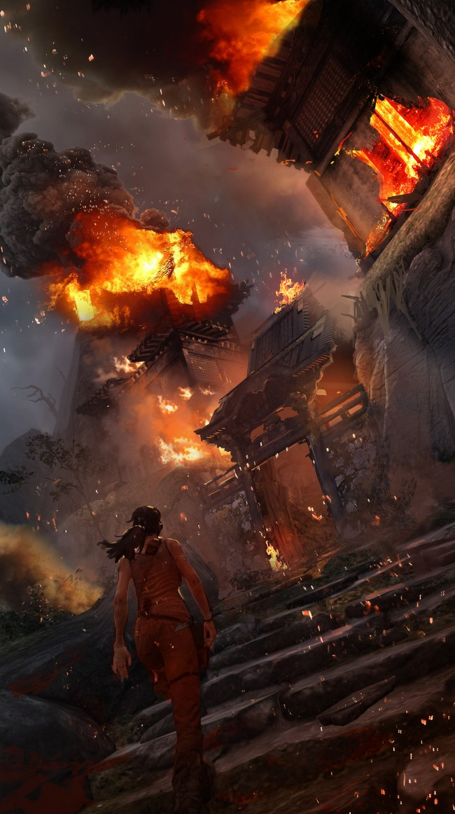Tomb Raider promo concept art пожар в деревне