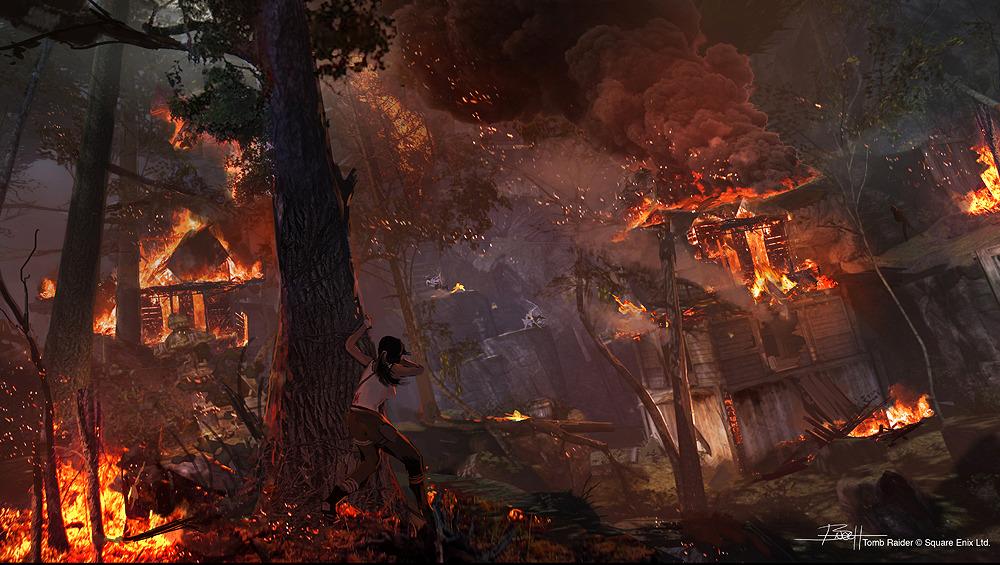 Tomb Raider promo concept art пожар