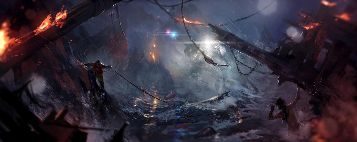Tomb Raider promo concept art крушение корабля