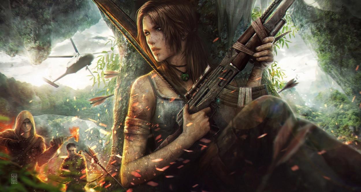 Tomb Raider promo concept art  лара крофт