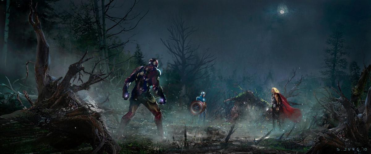 Avengers art сцена в лесу