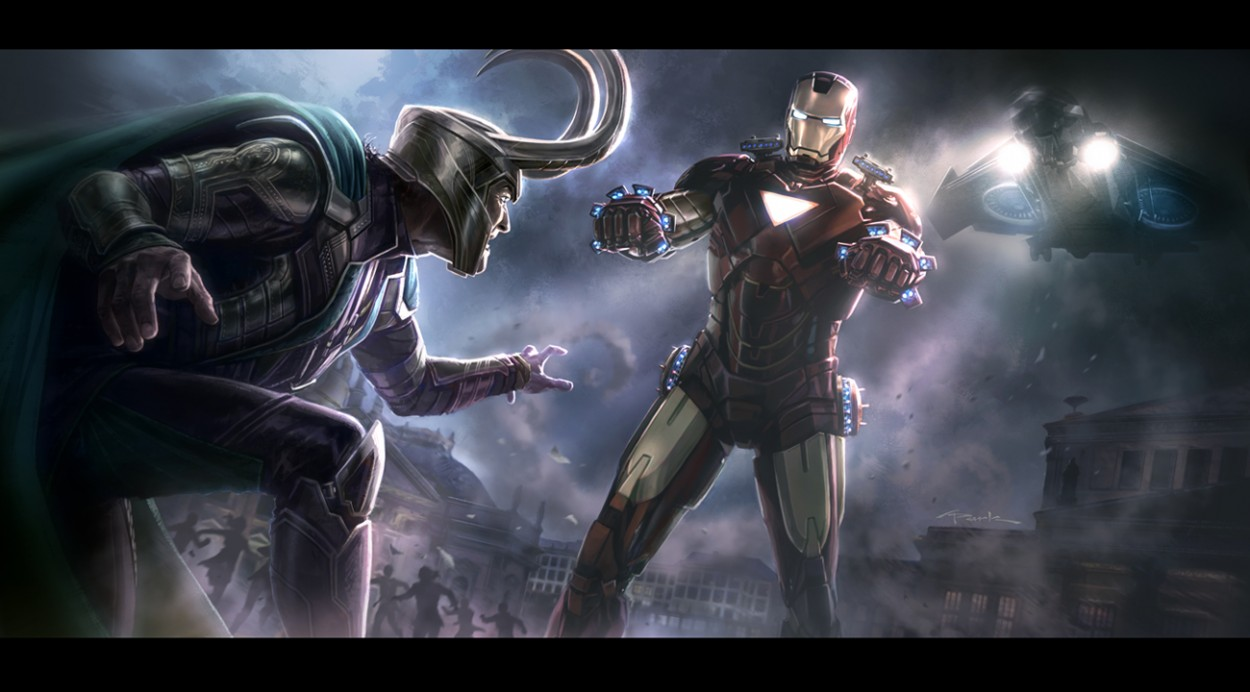 the_avengers__iron_man_vs__loki_key_frame_Avengers art