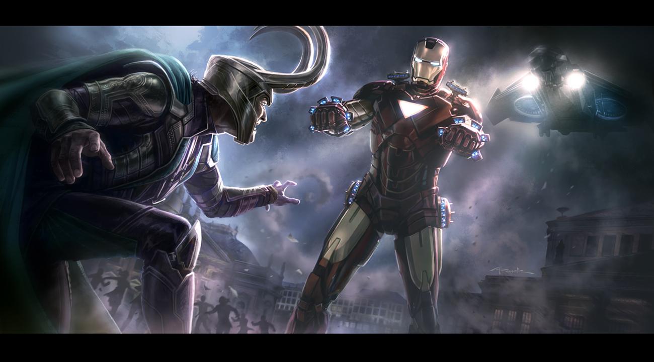 the_avengers__iron_man_vs__loki_key_frame_Avengers art