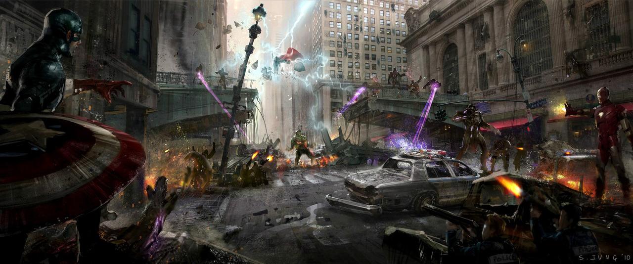 Avengers art разрушенный город