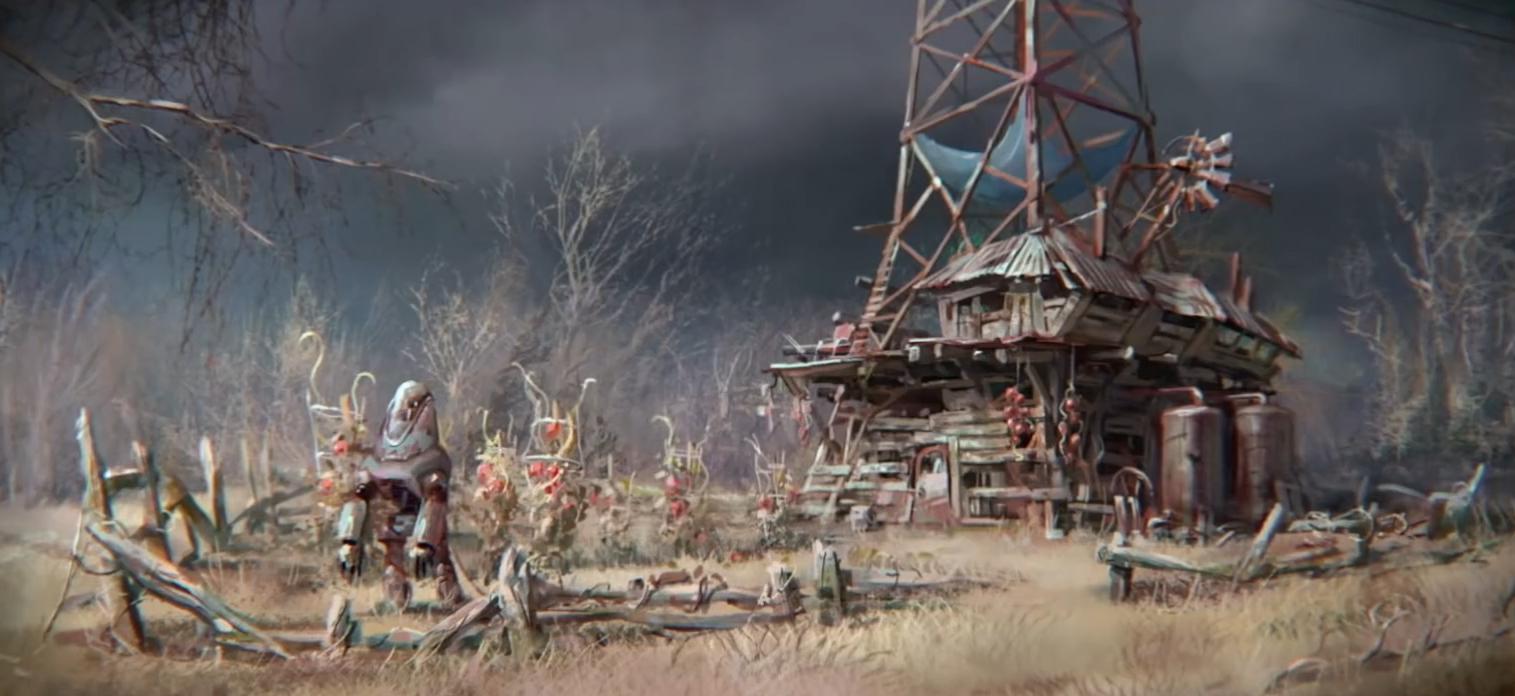 Fallout 4 concept art протектрон защищает поселение