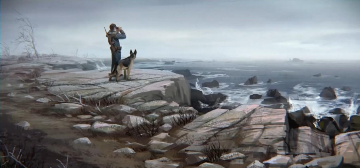 Fallout 4 concept_art на берегу с собакой