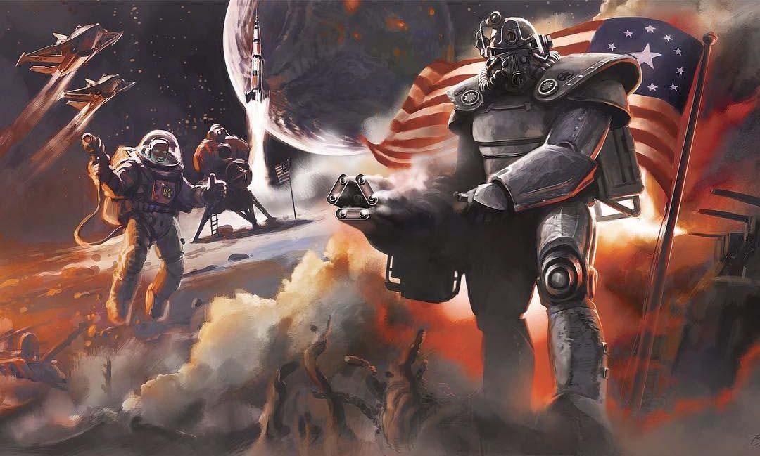 Fallout 4 art ко дню независимости с силовой броней и пришельцами