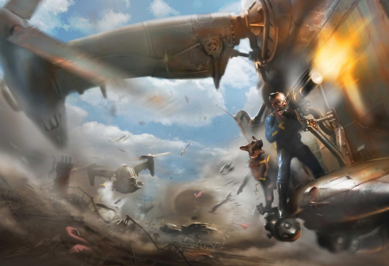 Fallout 4 art миниган, собака, вертолет